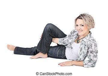 mulher, poses, estúdio