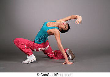 mulher, poses, sportswear, dançar