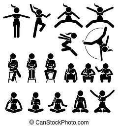 mulher, positions., sentar, ações, salto, básico