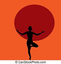 mulher, prática, illustration., jovem, vetorial, ioga, praia, sunset.
