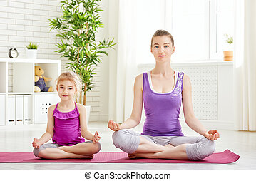 mulher, prática, ioga