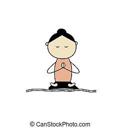 mulher, prática, ioga, pose lotus