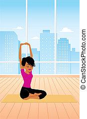 mulher, prática, ioga, sentando