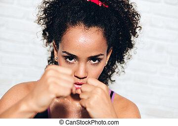 mulher, próprio, luta, americano, defesa, pretas, africano, menina, forte