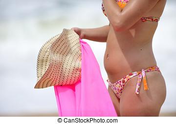 mulher, praia, bonito