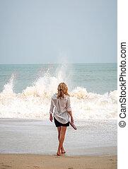 mulher, praia, classy