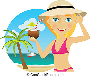 mulher, praia, com, um, coquetel
