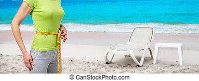 mulher, praia, esbelto
