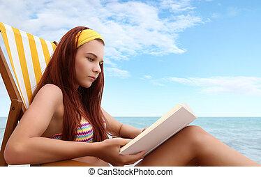 mulher, praia, livro