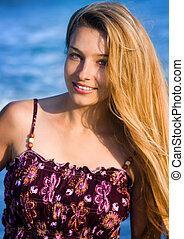 mulher, praia, loura