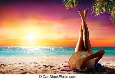 mulher, praia, relaxamento