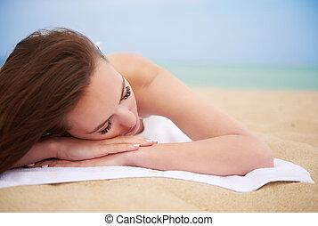 mulher, praia, relaxante