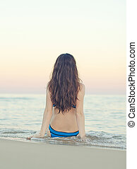 mulher, praia, sunset.