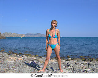 mulher, praia, swimsuit