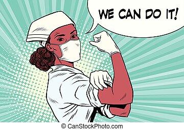 mulher preta, doutor, nós, lata, faça, aquilo