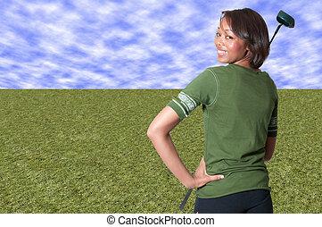 mulher preta, golfer