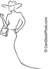 mulher preta, linhas, chapéu