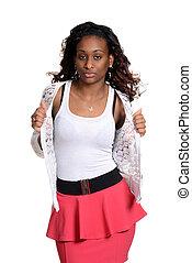 mulher preta, modelo moda