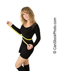 mulher preta, vestido, cintura