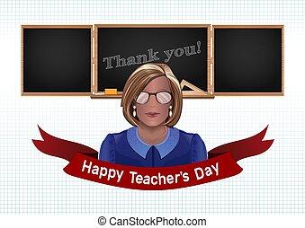 mulher, pretas, chalkboard, fundo, professor