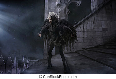 mulher, pretas, corvo
