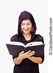 mulher, pretas, leitura
