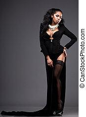 mulher, pretas, na moda, vestido, bonito