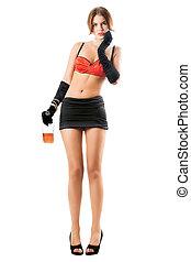 mulher, preto vermelho, bonito, saia, soutien