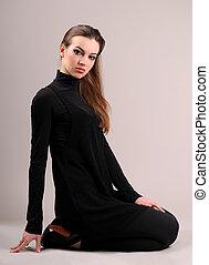 mulher, preto veste