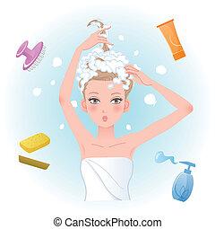 mulher, produtos, cabelo, body/hair, jovem, ensaboar, ...