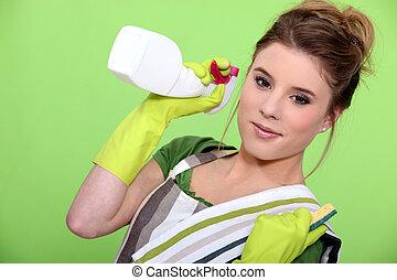 mulher, produtos, limpeza