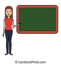 mulher, professor, chalkboard