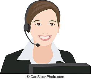 mulher, profissão, recepcionista