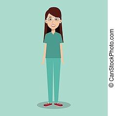 mulher, profissional, doutor, avatar