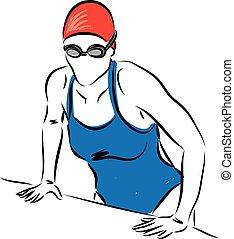 mulher profissional, gettin, nadador
