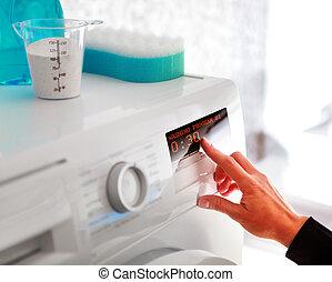 mulher, programa, lavando, escolher