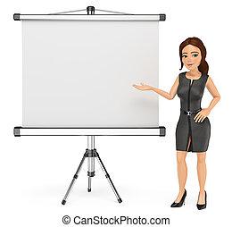 mulher, projetor, negócio, tela, em branco, 3d