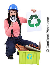mulher, promover, recycling.