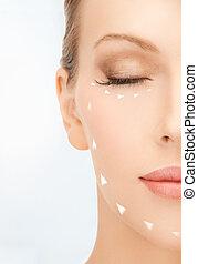 mulher, pronto, para, cirurgia cosmetic