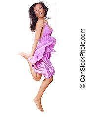 mulher, pular, feliz