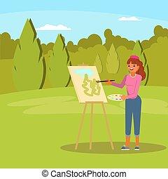 mulher, quadro, parque verde, vetorial, apartamento, ilustração