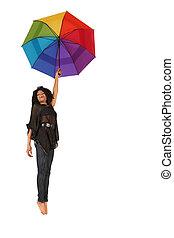 mulher, queda baixo, segurando, arco-íris colorido, guarda-chuva