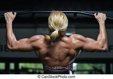 mulher, queixo, costas, exercício, ups
