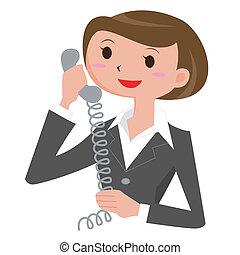 mulher, quem, chamadas