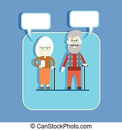 mulher, rede, comunicação, par, modernos, telefone pilha, conceito, vara, conversa, sênior, ter, bolha, esperto, homem