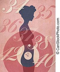 mulher, relógio biológico, ilustração