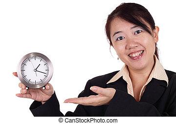 mulher, relógio
