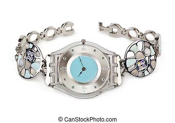 mulher, relógio, luxo