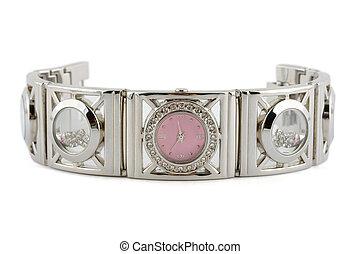 mulher, relógio, prata