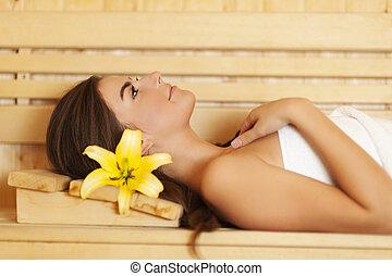 mulher relaxando, beleza, sauna, cabelo, lírio